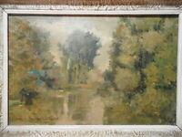 Tableau ancien peinture bord rivière le Beuvron Loir et Cher Les Montils France