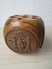 JERUSALEM PEN/PENCIL HOLDER SOUVENIR, 4 X COPPER PLAQUES, WOOD, GENUINE VINTAGE.