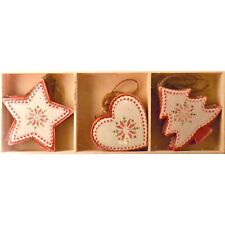 Gisela Graham Xmas Nordic Scandi Red White Heart Tree Star Wooden Decorations x9