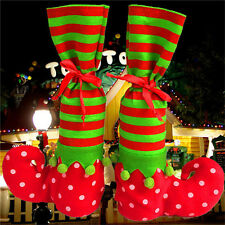 Hot Xmas Elf Boot Shoes Stocking Christmas Tree Decoration Hanging Candy Gift ZB