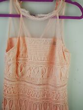 yonis womens pink dress with lace and crochet size M New with bag