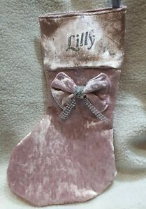 Personalised Crushed Velvet Christmas Stocking With Bow Detail