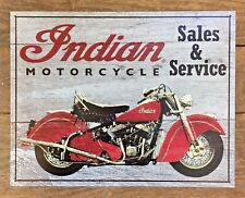 Indian Motorcycle Metal Tin Ad Sign Retro Picture Sales Service Shop Garage Gift