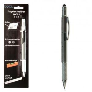 6 in 1 WORK Kugelschreiber Touchpen Wasserwaage Schraubendreher Lineal cm / inch