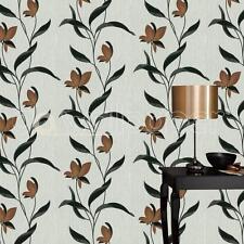 Erismann Papel pintado De Flores Hojas/Con purpurina Marrón Y Negro Con textura