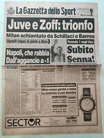 GAZZETTA DELLO SPORT 12-3-1990 JUVENTUS-MILAN 3-0 LECCE-NAPOLI ATALANTA-LAZIO