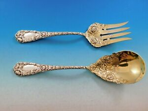 "Durgin Chrysanthemum Sterling Silver Dessert Oval Soup Spoon Mono /""Pet/""; Antique"