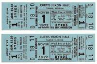 The Byrds Concert Ticket Set of 2 1972 Tampa Blue