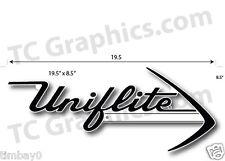 "Uniflite boat Laser cut PlasticReproduction 19.5"" x 8.5"" White & Black"