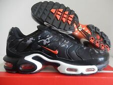 "NIKE AIR MAX PLUS TXT BLACK-TEAM ORANGE-WOLF GREY ""CAMO"" SZ 9 [647315-080]"
