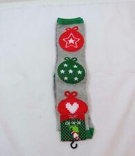 Ladies Gray Christmas Balls Knee High Novelty Fashion Socks size 9-11 Sparkle
