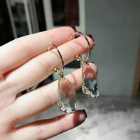 Luxury Simple Transparent Irregular Crystal Earrings Drop Dangle Women Jewelry