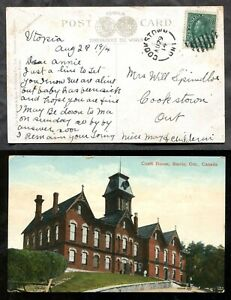 4947 - COOKSTOWN Ontario 1914 Split Ring Receiver on Barrie Postcard from Utopia