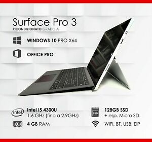 Surface Pro 3 | Intel i5 RAM 4GB SSD 120GB WIN10 x64 OFFICE incluso + Type Cover
