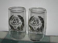 2 Silver 25th Anniversary Celebration Glasses 50's Vintage 12oz