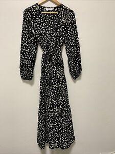 Leopard print Black/White Maxi Tiered Dress Size 10 / S