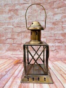 VINTAGE ETCHED GLASS & BRASS HANGING FREESTANDING TEA LIGHT CANDLE LANTERN