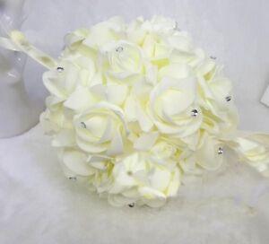 "10"" Foam Rose Pomander Flower Kissing Ball Wedding Party Decoration + Rhinestone"