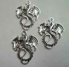 10pcs Tibetan silver dragon Charm pendant 37.5x27.5mm