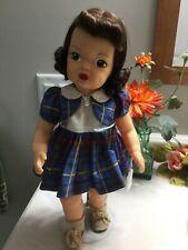 "16"" Terri Lee Patent Pending Blue Plaid Dress Tagged 1950's"