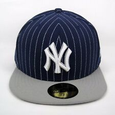 New Era Men's MLB NY Yankees Team Pinstripe Navy 5950 Fitted Cap - Size 7 1/4