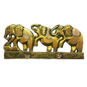 Wooden Wall Plaque Hand Carved Indian Elephant Fair Trade Gold Shimmer