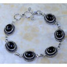 GORGEOUS NEW BLACK ONYX GEM ANTIQUE ORNATE 925 SILVER AMULET BRACELET 7-8 1/2""
