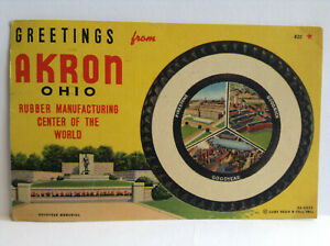 Greetings from AKRON OHIO Goodyear Memorial Tire Summit Vtg Postcard Posted 1957