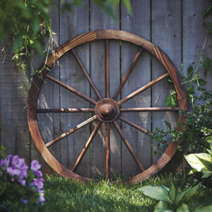 Wood Wagon Wheel W/ Hub Rustic Char-Log 30in. Backyard Western Decor Walnut