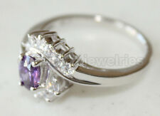 Amethyst White Gold finished Ring #954 Size7 925 Sterling Silver & Oval cut