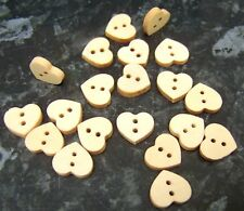 20 Plain wooden heart shaped buttons 11mm x 13mm - sewing, scrapbooking