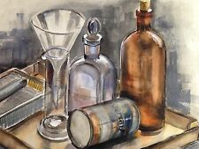 Original Watercolor by C. Finance - Bottles and Flasks - California Artist