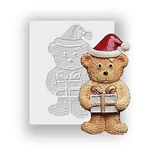 Xmas Ted & Present Silicone Mould, Food Safe, Cake Decorating, Sugarcraft Mold