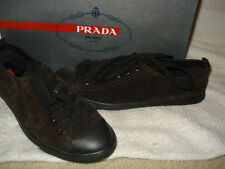 100% AUTHENTIC  NEW WOMEN PRADA BROWN VELOUR SUEDE BOAT SNEAKERS US 6.5