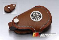 Mahogany Leather Key Cover Holder Union Jack in Black White for BMW MINI Cooper