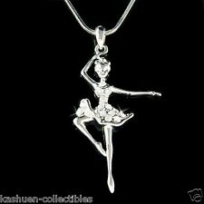 w Swarovski Crystal Clear BALLERINA~ Ballet Dancer Teacher Pendant Necklace Xmas