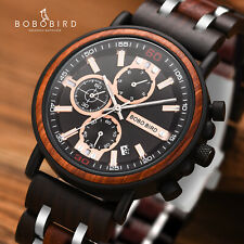 BOBO BIRD Men's Quartz Wood Watch Date Chronograph Wooden Watches Luminous Hands