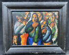 COLOURFUL 1930s RUSSIAN  CUBISTS  OIL PAINTING Composition signed MALEVICK