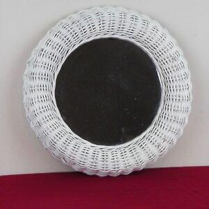 """White Wicker Mirror 16"""" Round Made In Spain Ref 4106-1 Roman Monovar"""