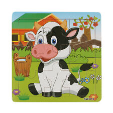Wooden Puzzle Dairy Cow Jigsaw Toys For Kids Education Learning Puzzles Toys NEW