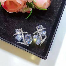 Cross Luxury Big Cubic Zirconia Silver Anniversary Fashion Party Earring Studs