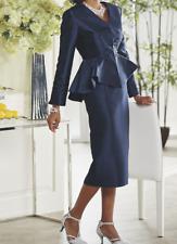 plus size 26W Bonny Skirt Suit church wedding navy blue by Ashro new