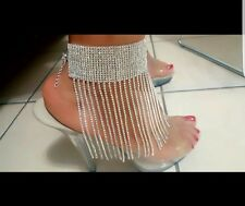 Barefoot Thick band Choker anklet Bridal/wedding dangle anklet foot jewelry