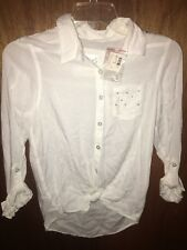 NWT Justice White Button Up Shirt Size 12 Rayon