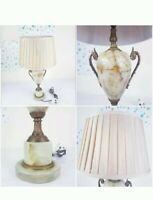 A Lovely Vintage French Bronze Bedside Side Table Lamps with Shade