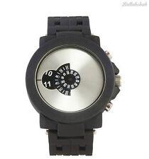 Reloj de pulsera hora de salto Softech para Hombre analógico de metal de visualización de disco pistola Cuarzo Negro