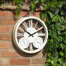 """15"""" White Rosewood Clock & Barometer Indoor Outdoor Retro Metal Garden GCLOCK1"""