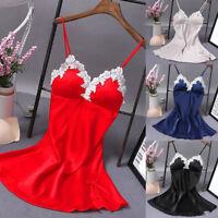 Sexy-Lingerie-Women-Silk-Lace-Robe-Dress-Babydoll-Nightdress-Nightgown-Sleepwear