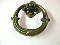 KBC N-3896 Knocker Style Drop Ring Pull Handle & Backplate Dark Aged Brass 1 Vtg