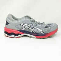 Asics Womens Gel Kayano 26 1012A459 Gray Blue Running Shoes Lace Size 7.5 Wide